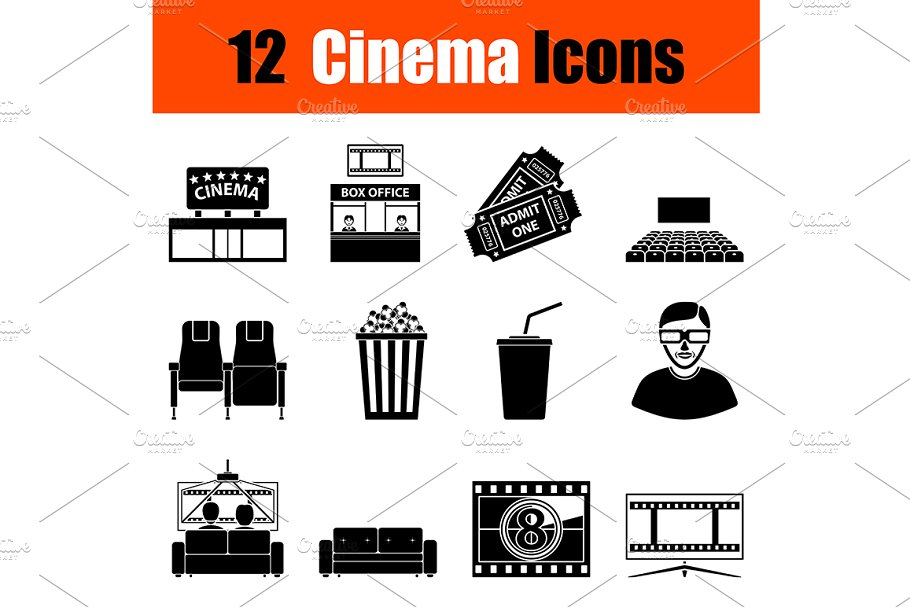 Set of cinema icons in Graphics - product preview 8