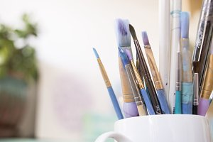 Paint Brushes in Mug