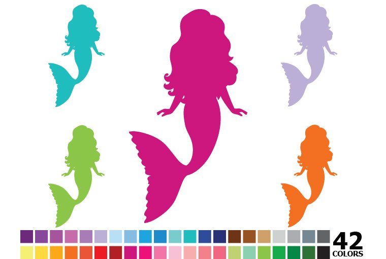 rainbow silhouette mermaid illustrations creative market