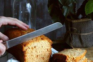 Cutting of orange cake