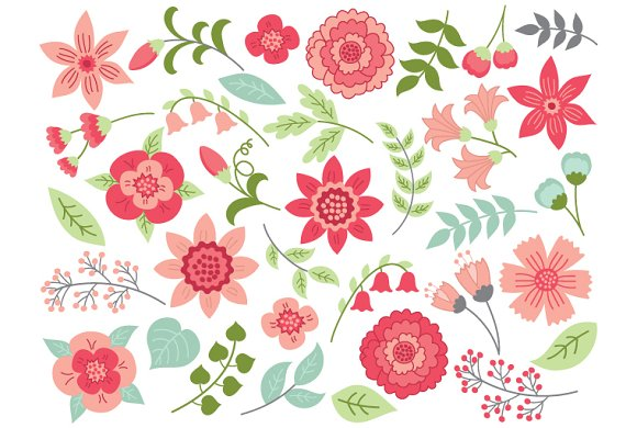Pink And Green Flowers Illustrations Creative Market