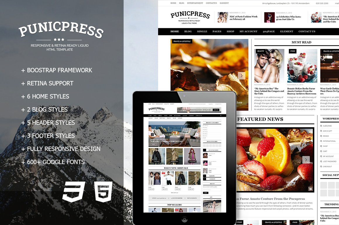 PunicPress - Magazine HTML5 Template ~ HTML/CSS Themes ~ Creative Market
