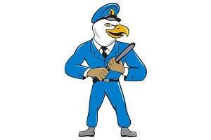 Bald Eagle Policeman Baton Cartoon