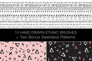 10 Hand Drawn Ethnic Brushes