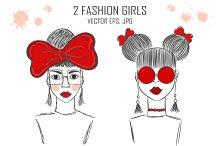 2 fashion girls - vector EPS, JPG