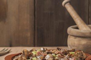 Ham mushrooms with sherry sauce