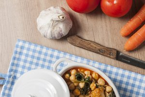 Chickpea spinach and cod