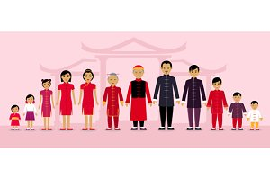 Chinese Family People Design Flat