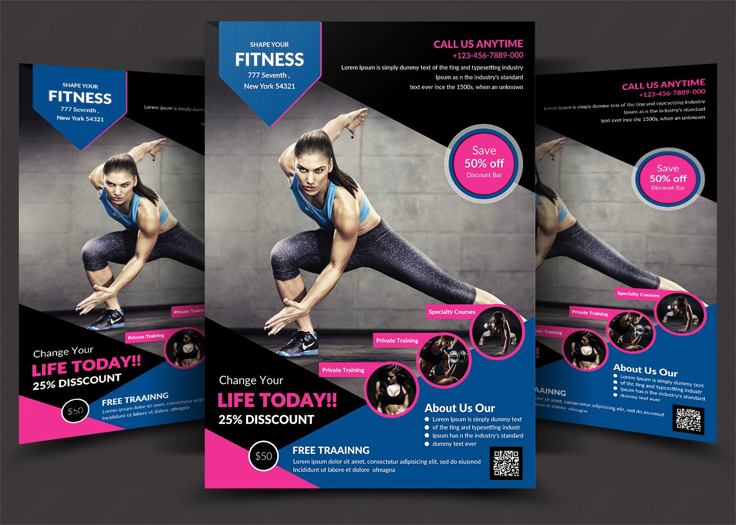 fitness flyer flyer templates creative market. Black Bedroom Furniture Sets. Home Design Ideas