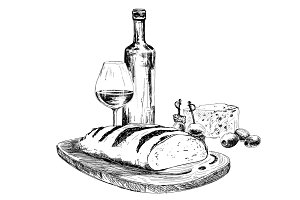 Wine, bread and blue cheese