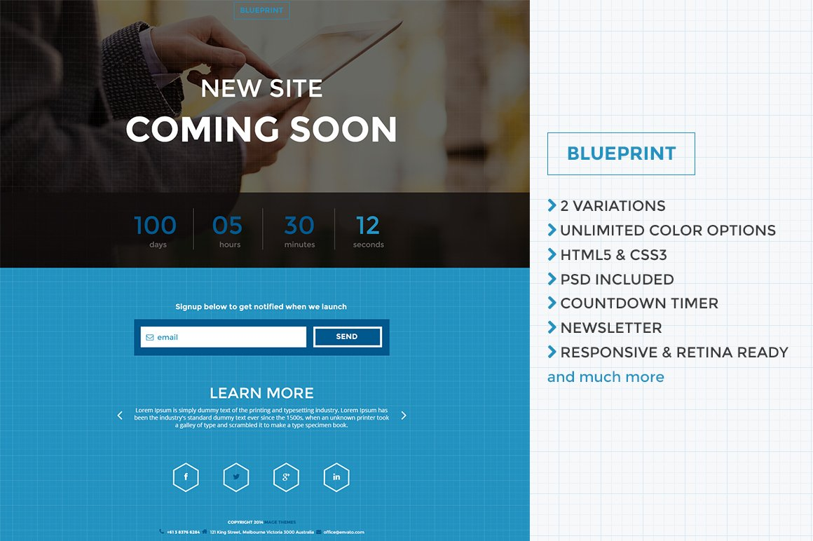 Blueprint responsive co soon page website templates creative blueprint responsive co soon page website templates creative market malvernweather Images