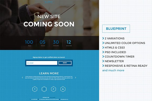 Blueprint responsive co soon page website templates blueprint responsive co soon page websites malvernweather Gallery