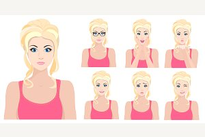 Blond girl emotions set + Bonus&#x3B;)
