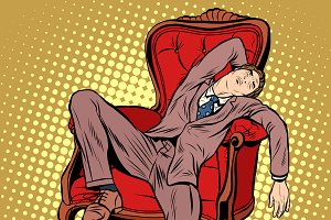 Businessman resting and sleeping