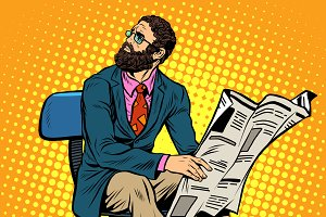 Bearded businessman newspaper
