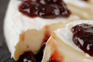 Brie cheese with cherry jam