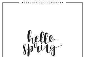 Hello spring. Calligraphy phrase