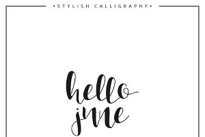 Hello june. Calligraphy phrase