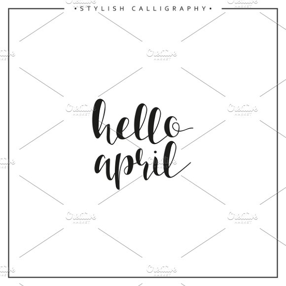 Hello april. Calligraphy phrase