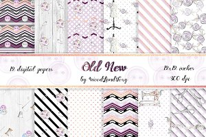 Watercolor Sewing Digital Papers. 12