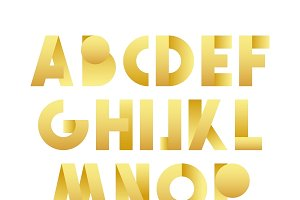 Retro font in gold.