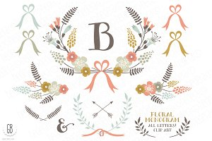 Floral wreaths laurels monogram c73