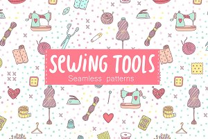 Sewing tools. Seamless pattern.