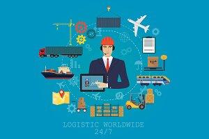 Delivery logistics service concept.