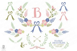 Floral wreaths laurels monogram c74