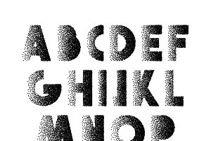 Font Retro Stipple. Alphabet retro .