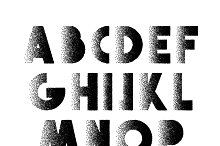 Font Retro Stipple. Alphabet retro