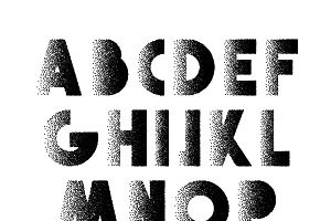 Font Retro Stipple. Alphabet retro