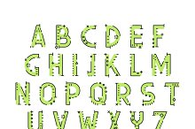 Conceptual font in line flat style