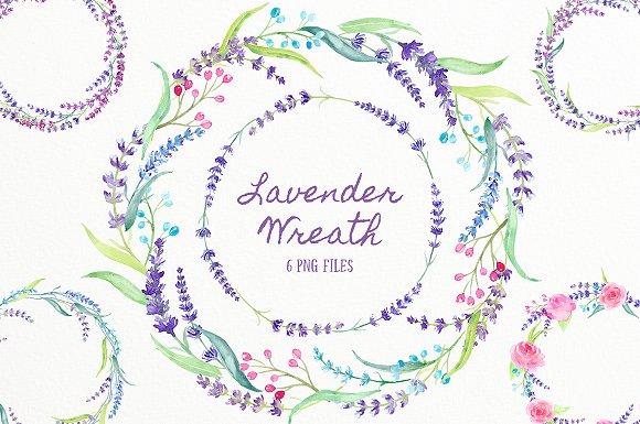 Watercolor Lavender Wreath