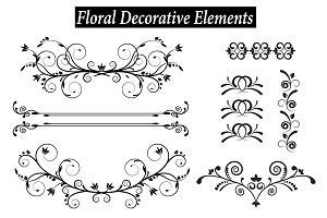 Set of vintage decorative elements