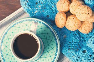 Espresso coffee and cookies