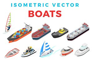 Isometric Vector Flat Boats