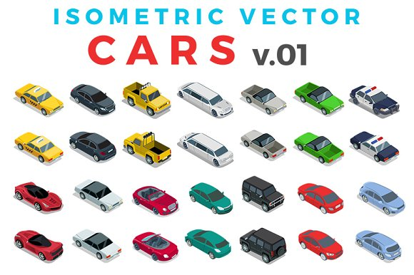 Vector Cars Isometric Flat style v.1 - Graphics