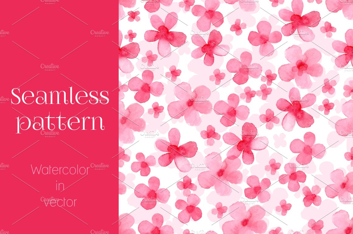 Watercolor Floral Background Custom Designed Graphic Patterns