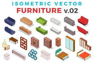 Vector Furniture Isometric Flat v.2