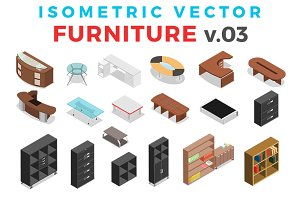 Vector Furniture Isometric Flat v.3
