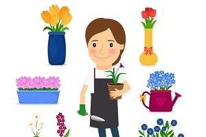 Happy woman gardening icons