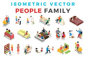 Vector Family People Isometric Flat