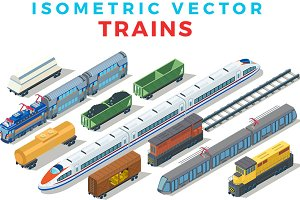Vector Trains Isometric Flat style