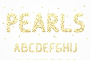 Font with realistic pearls