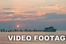 Touristic ship leaving the pier