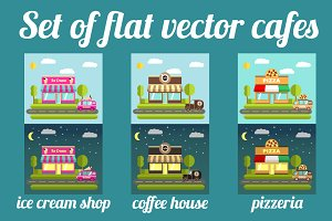 Set of flat vector cafes