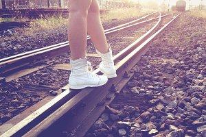Walking along the railroad