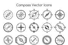 Compass line icons