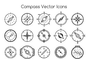Compass line icons